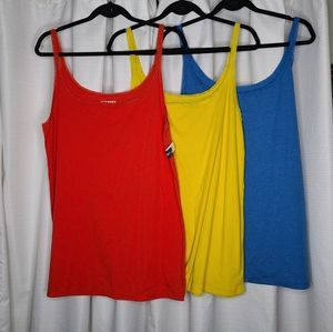 3 Old Navy XXL Lace Trim Camis Red, Blue, Yellow